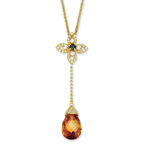 Gold-plated Sterling Silver Champagne CZ 18in Necklace