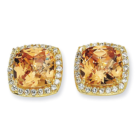 Gold-plated Sterling Silver Champagne CZ 13mm Square Earrings