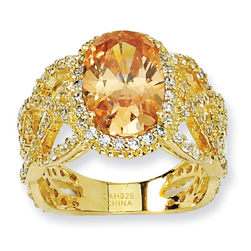 Gold-plated Sterling Silver Oval Champagne White CZ Ring