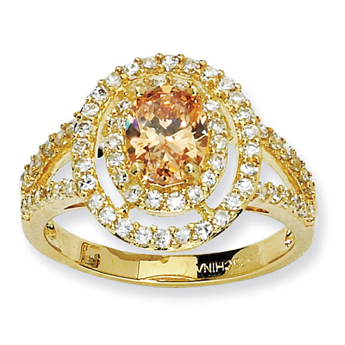 Gold-plated Sterling Silver Oval Champagne and White CZ Ring