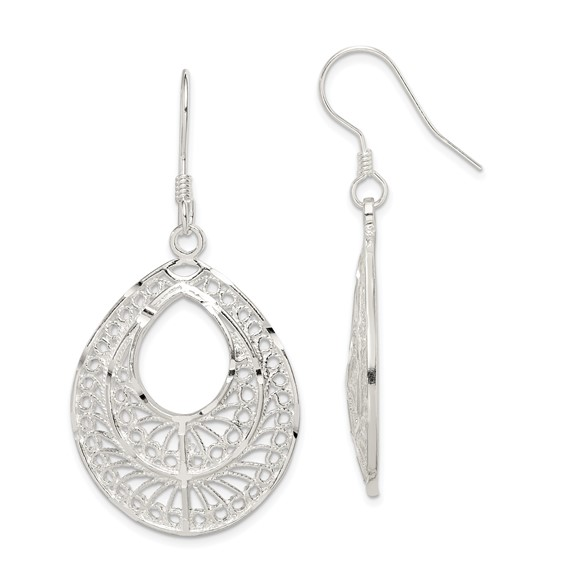 Sterling Silver 1 3/4in Filigree Dangle Earrings