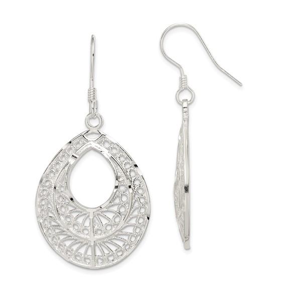 Sterling Silver 1 3/4in Filigree Dangle Earrings