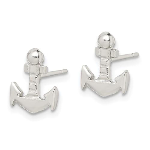 Sterling Silver Anchor Mini Earrings