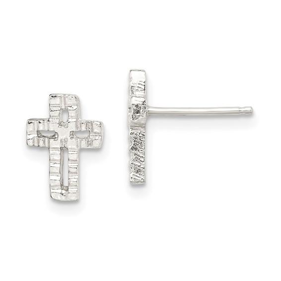 Sterling Silver 3/8in Mini Textured Cross Earrings