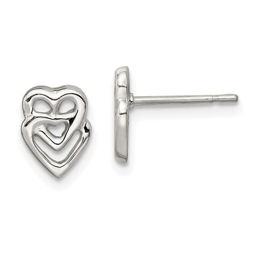 Sterling Silver Connected Hearts Mini Earrings