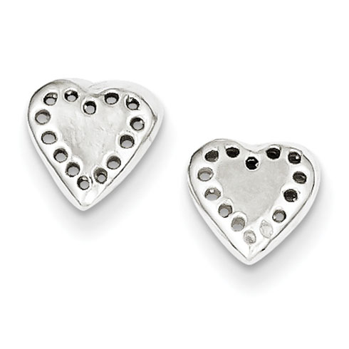 Sterling Silver Perforated Heart Mini Earrings