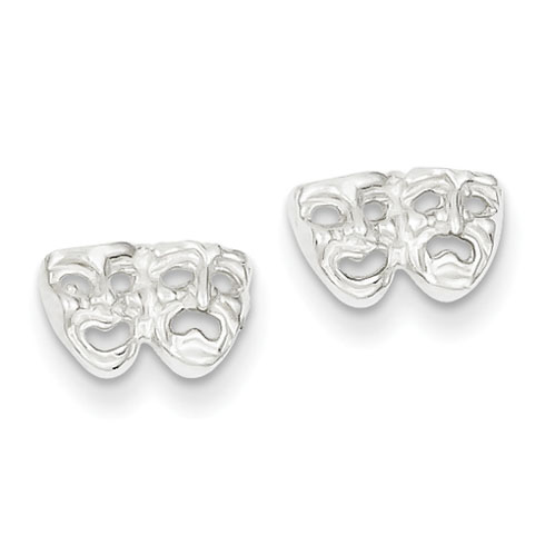Sterling Silver Comedy Tragedy Mini Earrings