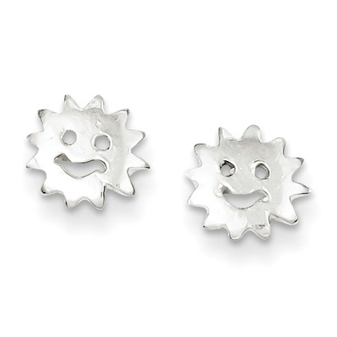 Sterling Silver Smiling Sun Mini Earrings