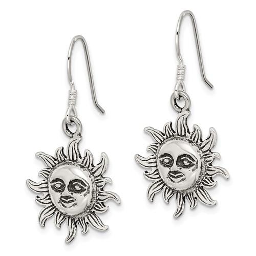 Sterling Silver Sun Dangle Earrings