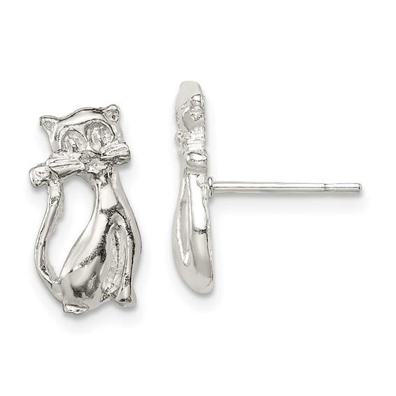 Sterling Silver Cat Mini Earrings