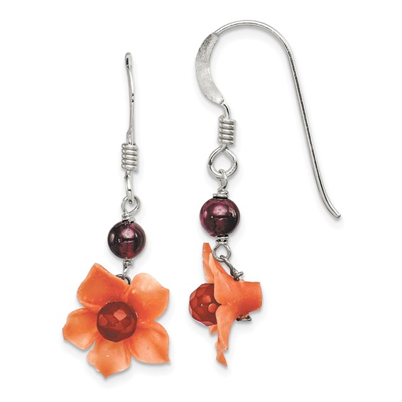 Sterling Silver Garnet Bead and Carnelian Dangle Flower Earrings