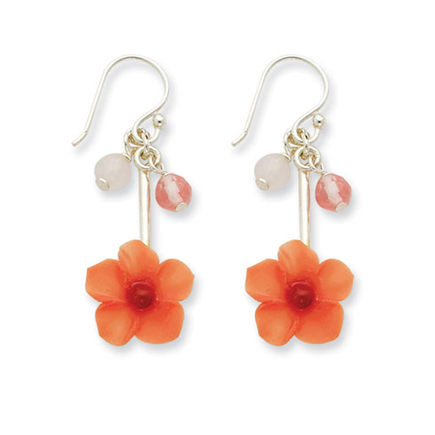 Sterling Silver Rose Cherry Quartz & Carnelian Dangle Flower Earrings