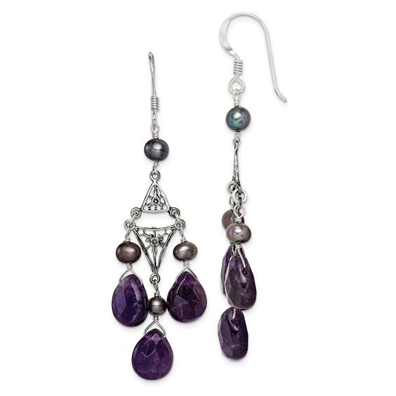 Amethyst & Cultured Peacock Pearl Earrings - Sterling Silver