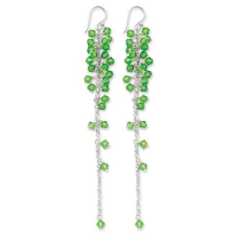 Sterling Silver Green Crystal Dangle Earrings