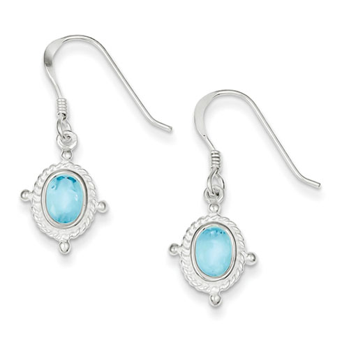6x4mm Blue Topaz Dangle Earrings - Sterling Silver