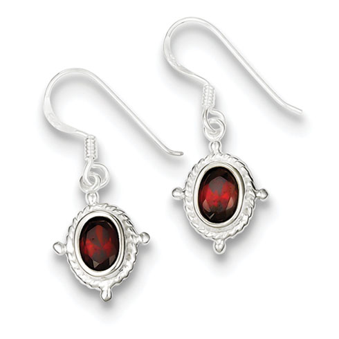 Sterling Silver Fancy Garnet Dangle Earrings