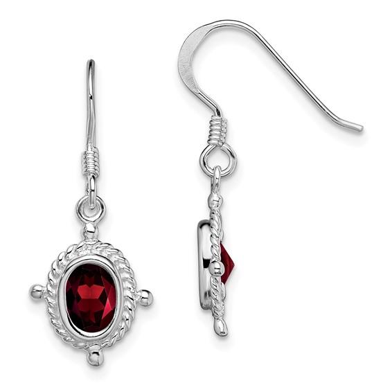 Sterling Silver Fancy Garnet Dangle Earrings