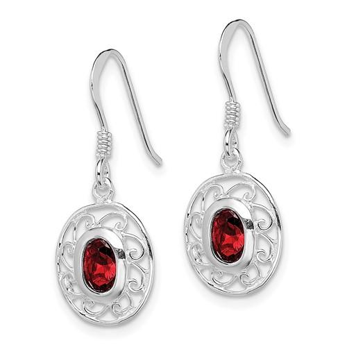 Fancy Oval Garnet Dangle Earrings Sterling Silver