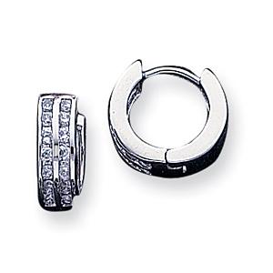 Sterling Silver 1/2in CZ Hoop Earrings