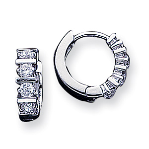 Sterling Silver 5/8in CZ Hoop Earrings