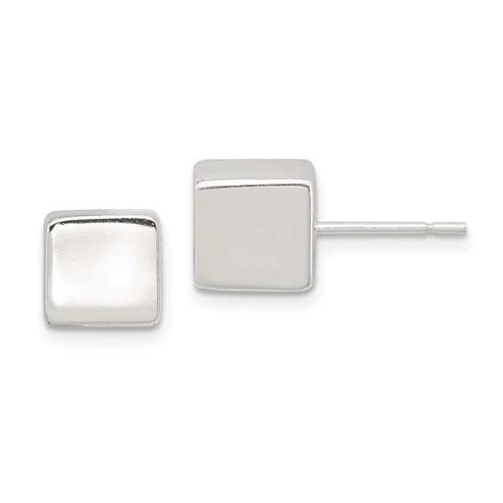 Sterling Silver Polished 8mm Square Earrings