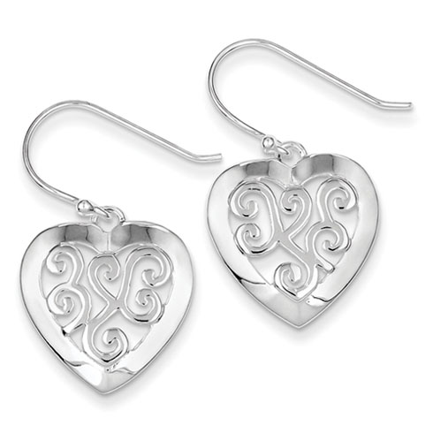 Sterling Silver Etched-design Heart Earrings