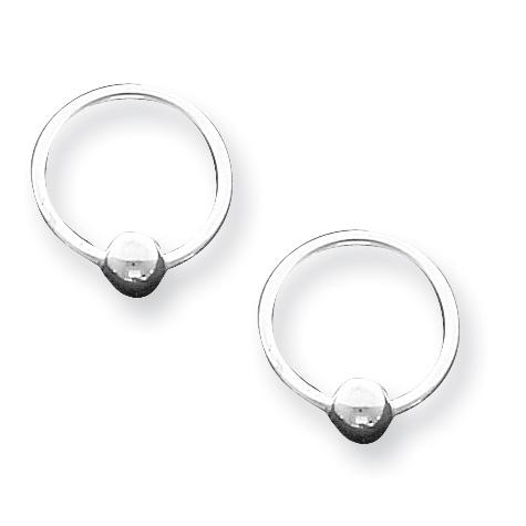 Sterling Silver 5/8in Ball Hoop Earrings