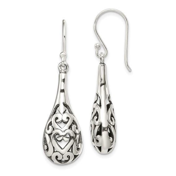 Antiqued Dangle Earrings - Sterling Silver