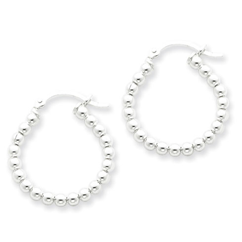 Sterling Silver Polished Twisted Bead Hoop Earrings