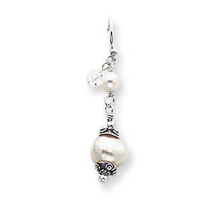 Sterling Silver White Cultured Pearl & Crystal Antiqued Dangle Earrings