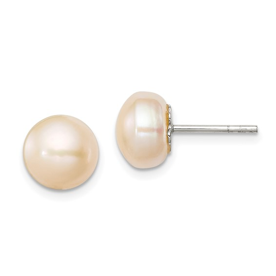 Sterling Silver 9mm Peach Cultured Pearl Button Earrings