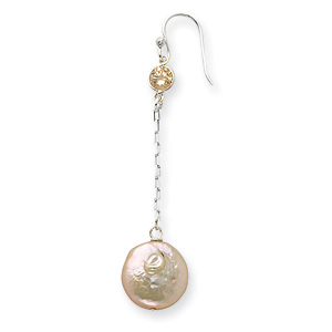 Sterling Silver Champagne CZ Biwa Coin Pearl Earrings