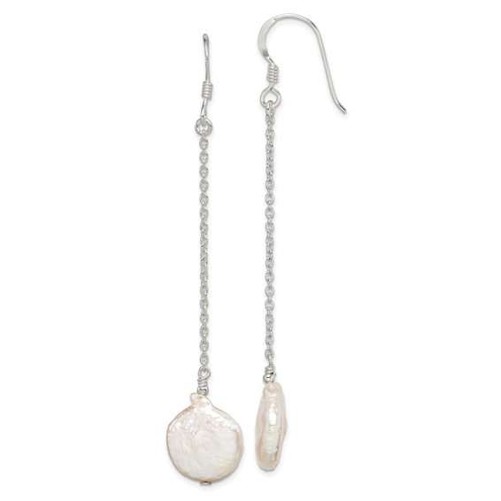 Sterling Silver Peach Biwa Coin Pearl Earrings