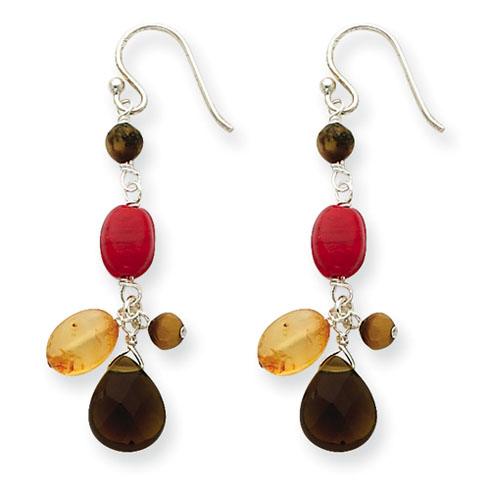 Sterling Silver Carnelian Tiger Eye Smoky Quartz Earrings