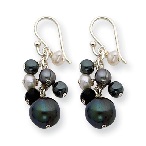 Sterling Silver Onyx Hematite Peacock and White Freshwater Cultulred Pearl Earrings