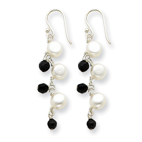 Sterling Silver Freshwater Cultured White Pearl Black Crystal Earrings