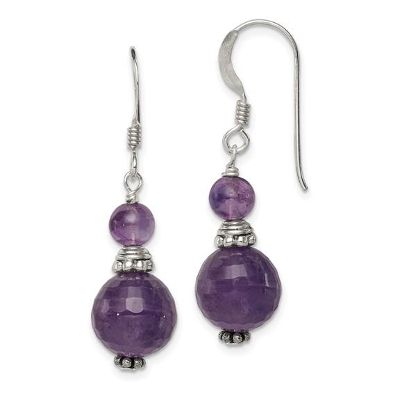 Antiqued Amethyst Earrings - Sterling Silver