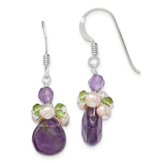 Amethyst Peridot Chips and Cultured Peach Pearl Earrings - Sterling Silver
