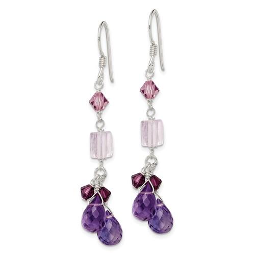 Sterling Silver Amethyst Lavender Quartz Crystal Combination Earrings