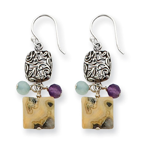 Sterling Silver Antiqued Amethyst Green Agate Jasper Earrings
