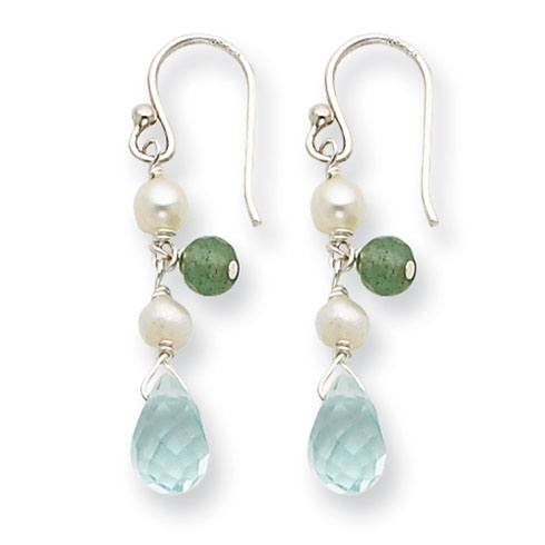 Sterling Silver Blue Crystal Cultured White Pearl Aventurine Earrings