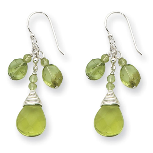 1 1/2in Green Crystal and Peridot Shepherd Hook Earrings