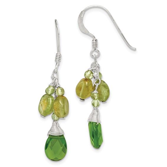 Sterling Silver 1 1/2in Green Crystal and Peridot Shepherd Hook Earrings