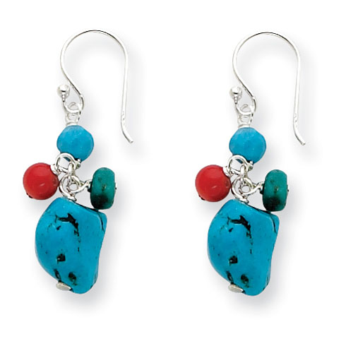 Sterling Silver Howlite Turquoise Red Coral Earrings