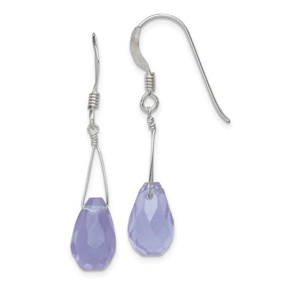 Sterling Silver Blue Quartz Crystal Earrings