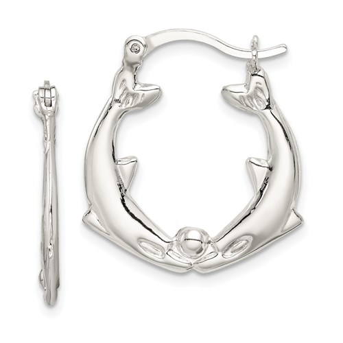 Sterling Silver 1in Kissing Dolphins Hoop Earrings