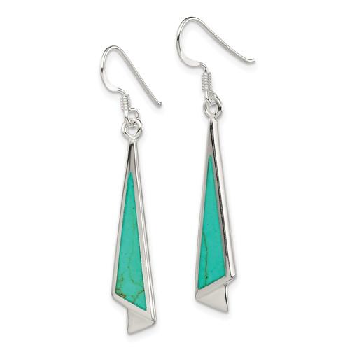 Sterling Silver 2in Dangling Turquoise Earrings