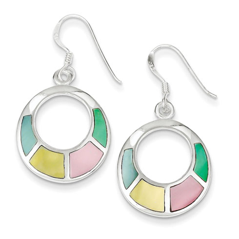 Sterling Silver Multi-colored Shell Earrings