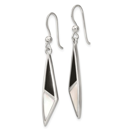 Sterling Silver Onyx & Mother of Pearl Dangle Earrings