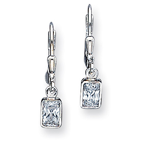 Sterling Silver Cubic Zirconia Leverback Earrings
